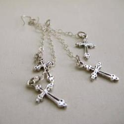 Dangle Double Cross Silver Earrings