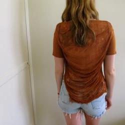 Brown Shredded Back See Through Crop Top
